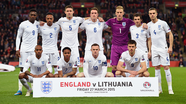 LONDON, ENGLAND - MARCH 27:  England pose for a team photo during the EURO 2016 Qualifier between England and Lithuania at Wembley Stadium on March 27, 2015 in London, England.  (Photo by Michael Regan - The FA/The FA via Getty Images)